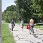 Kids riding bikes in neighborhood