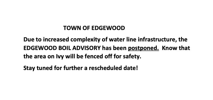 Boil postponed